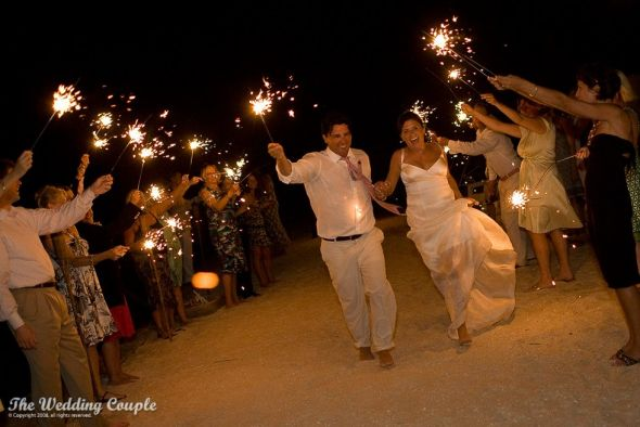 barefoot-on-the-beach-wedding-sparklers