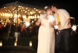 Kissing with Wedding Sparklers