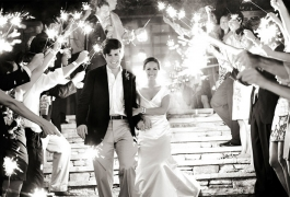 Sparkler Sendoff in Black and White