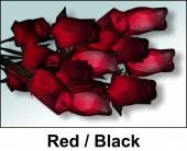 Red and Black Wooden Roses