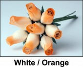 White / Orange Wooden Roses