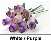 White / Purple Wooden Roses