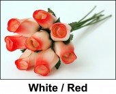 White / Red Wooden Roses