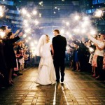 Walking Down With Wedding Sparklers