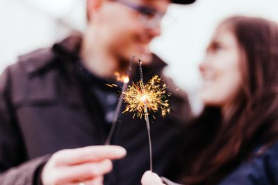 Image of a Couple Taking a Selfie with Sparklers on Valentine's Day
