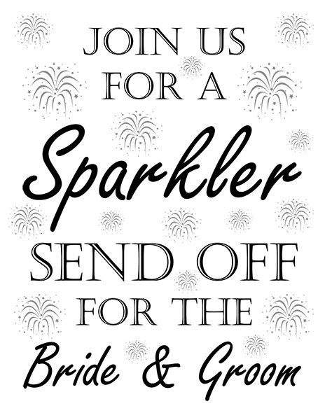 Wedding Sparkler Sign For Send Offs Free Printable Perfect For