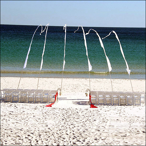 Image of Wedding Decorations in the Summer on a Beach