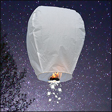 White Shooting Star Sky Lanterns