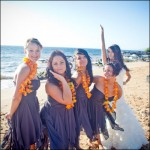 Bridesmaids Wearing Leis