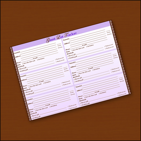 Image of a Wedding Guest List Tracker