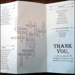 Crossword Puzzle Wedding Program