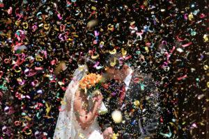 Confetti During a Wedding Exit image