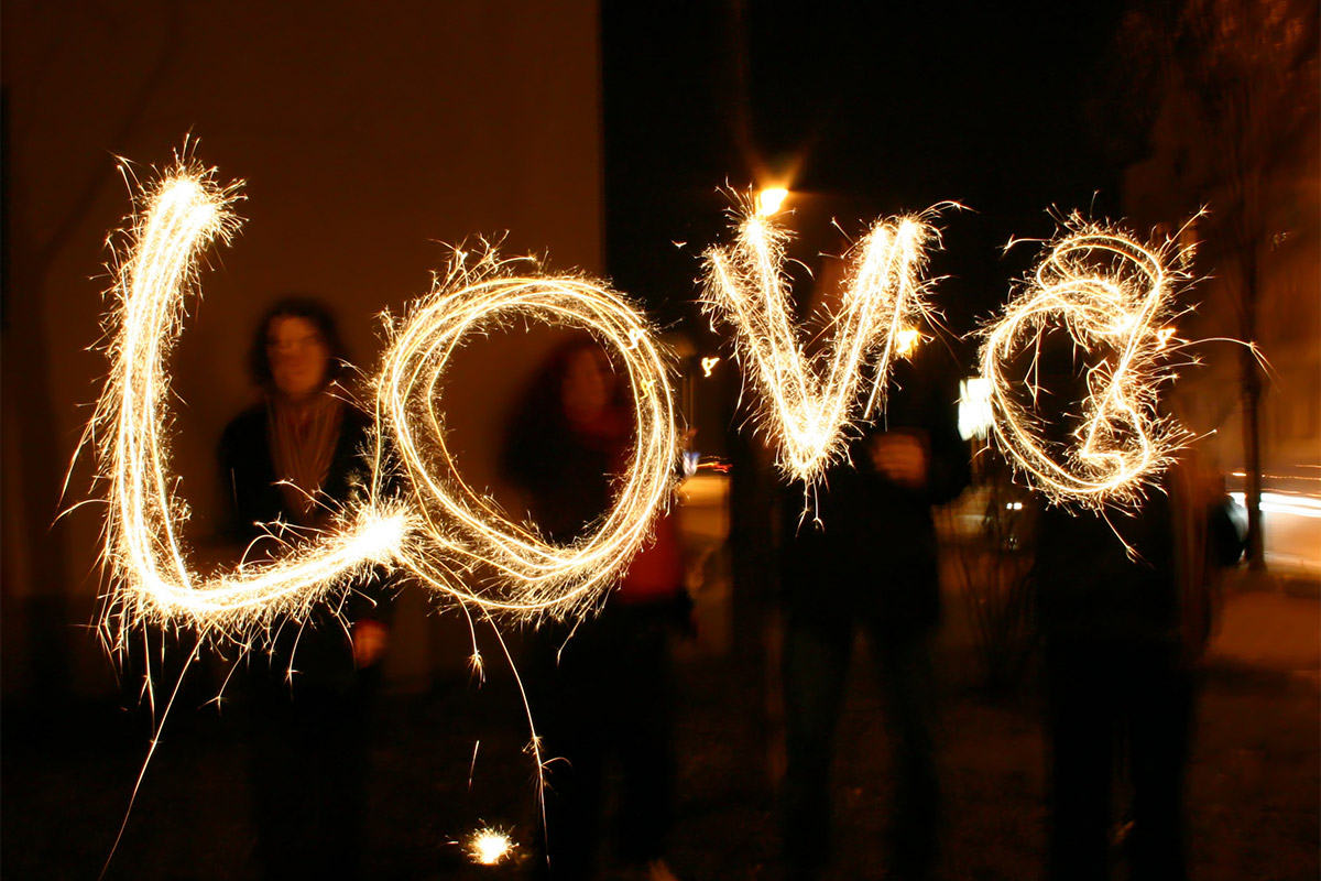 Writing LOVE with 20 Inch Wedding Sparklers image
