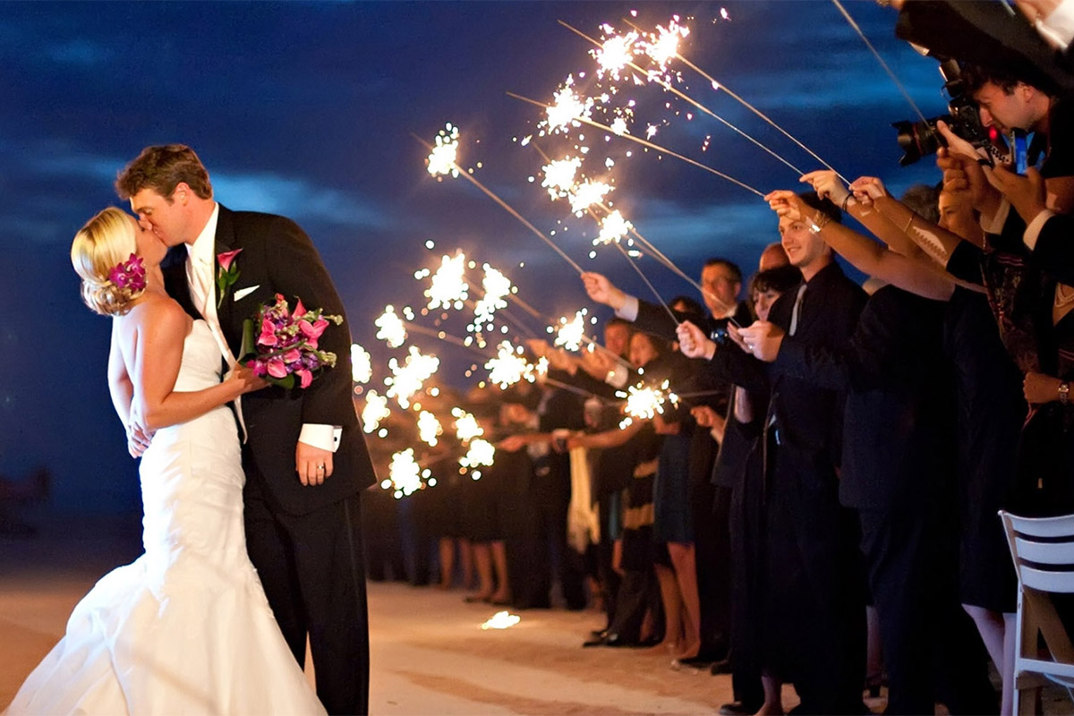 36 Inch Wedding Sparklers During A Exit Image