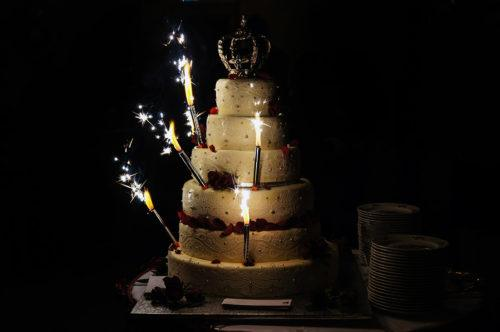 Sparklers on a Wedding Cake image
