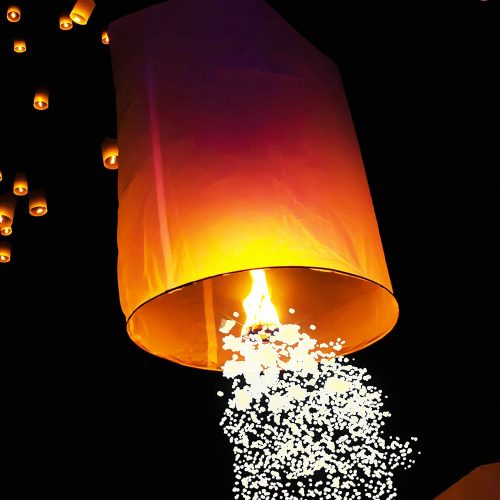 Image of a White Shooting Star Sky Lantern in the Sky