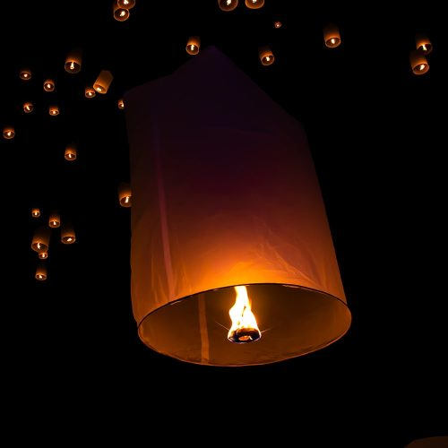 Image of a White Sky Lantern in the Sky