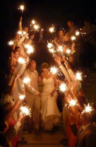 Wedding Sparkler Photos During Send-Off Line image