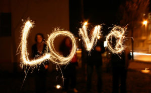 Writing LOVE in a Photo with Sparklers image