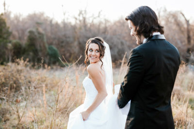 Image of Bride and Groom at an Outdoor Wedding