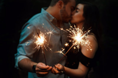 Image of a Couple Kissing While Holding Smokeless Wedding Sparklers