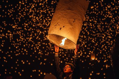 Image of Sky Lanterns Being Released at a Lantern Festival