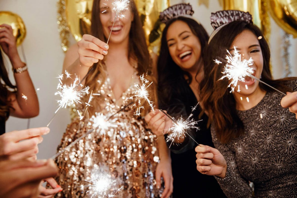 Image of Sparklers at a New Year's Party