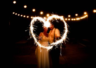 A Couple Using Heart Shaped Sparklers in a Wedding Photo