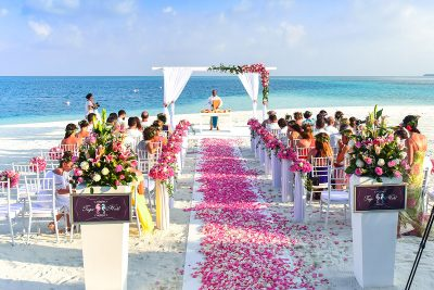 Image of a Beach Wedding Ceremony with Sparklers