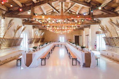 Image of an Indoor Venue Setup for Wedding Sparklers