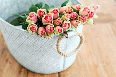 Image of a Basket of Roses to Hand Out at a Wedding