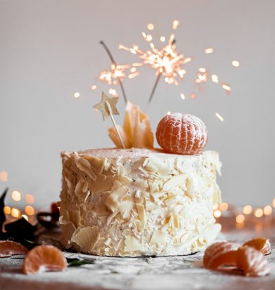 Image of a Wedding Cake with Sparklers on Top