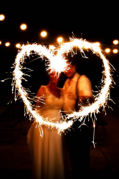 Image of a Couple Drawing a Heart in a Photo with Sparklers