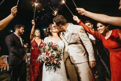 Image of Sparklers Being Used at a Wedding