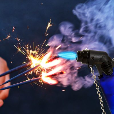 Image of a Torch Lighter Igniting Sparklers