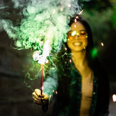 Image of a Woman Holding a Cake Sparkler in Her Hand