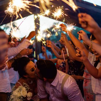 Image of Sparkler Wedding Exit with Overhead Obstacles