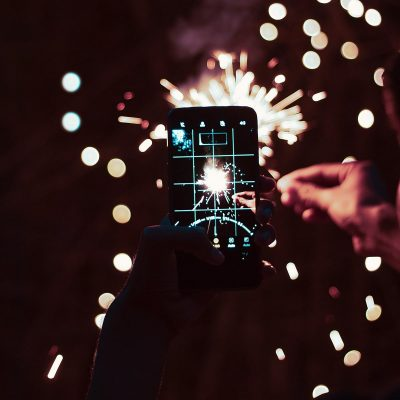 Image of a Smartphone Photographing Sparklers