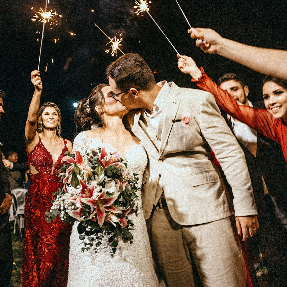 Image of Gold Sparklers Used in a Send-Off at a Wedding