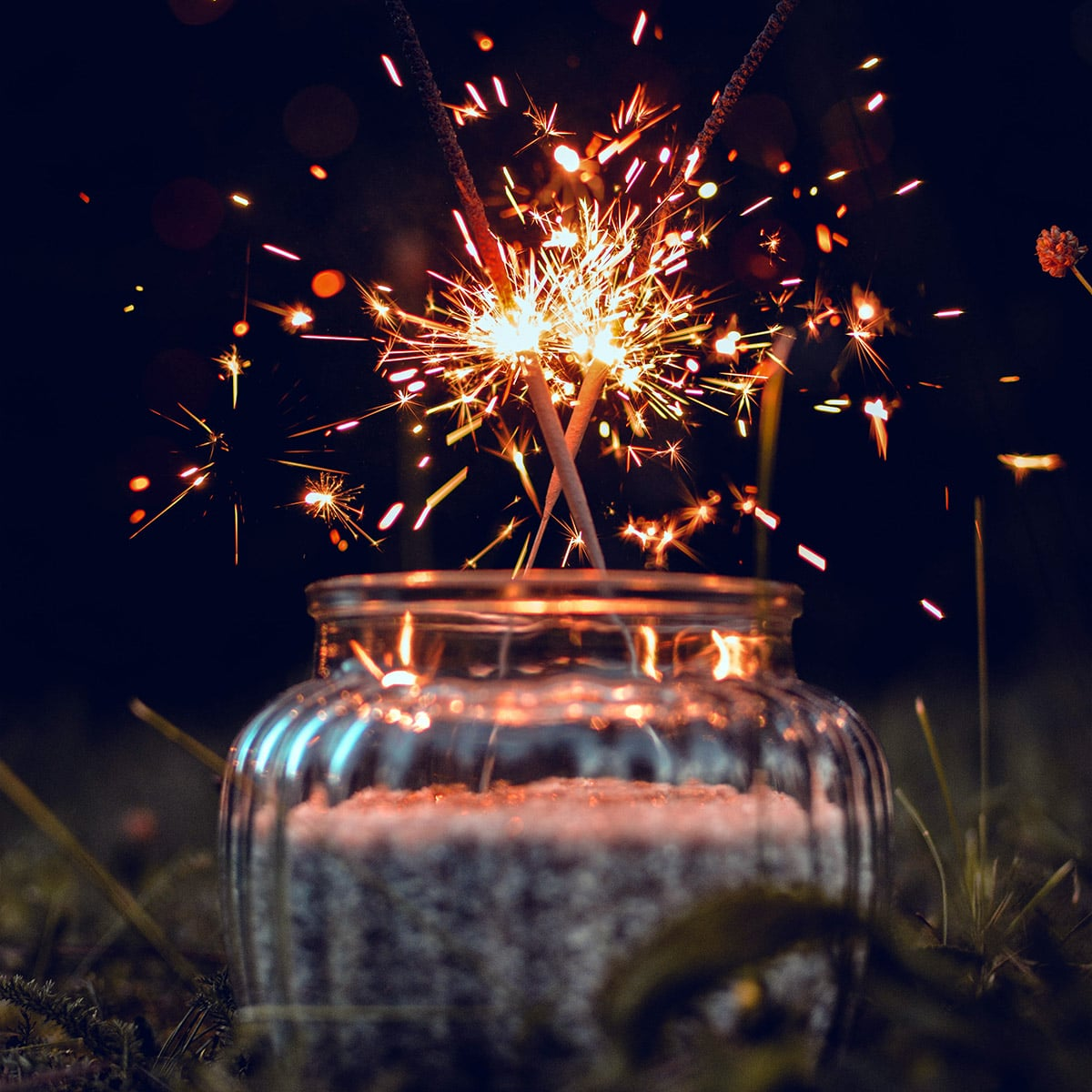Image of a Sparkler Centerpiece Sitting in the Grass