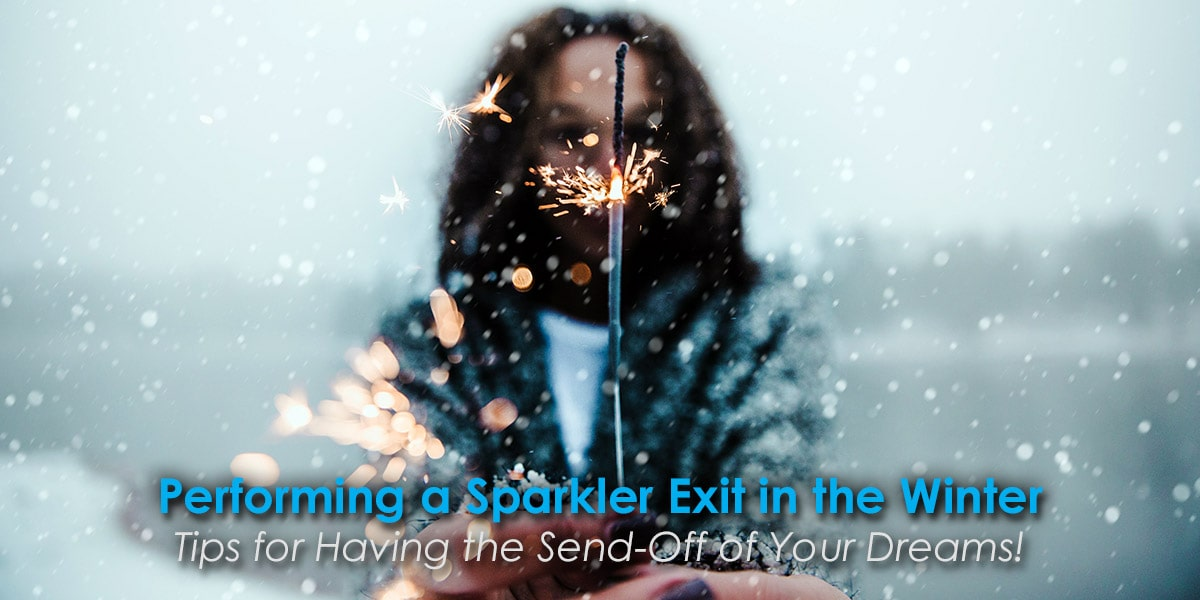 Image of a Woman Performing a Sparkler Exit in the Winter