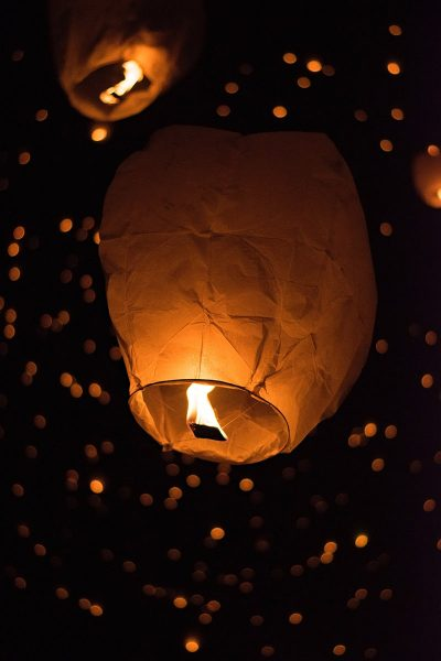 Image of a Group Release of Sky Lanterns in Action