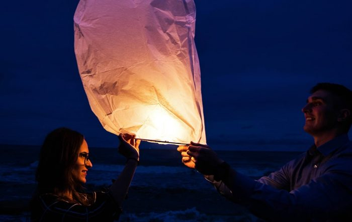 Image of Releasing Sky Lanterns as a Group