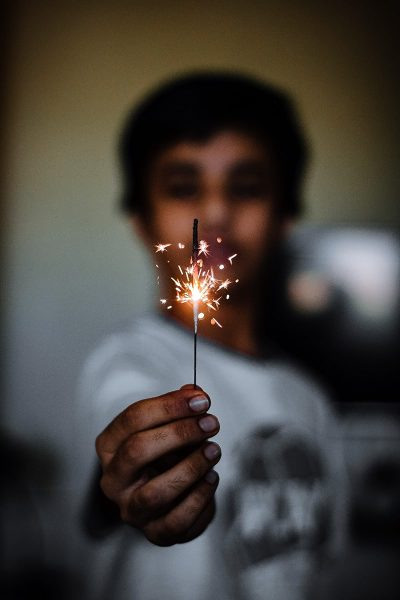 Image of a Person Using Diwali Sparklers to Celebrate