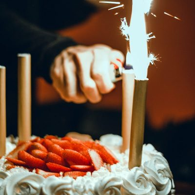 Image of Sparklers on a Birthday Cake
