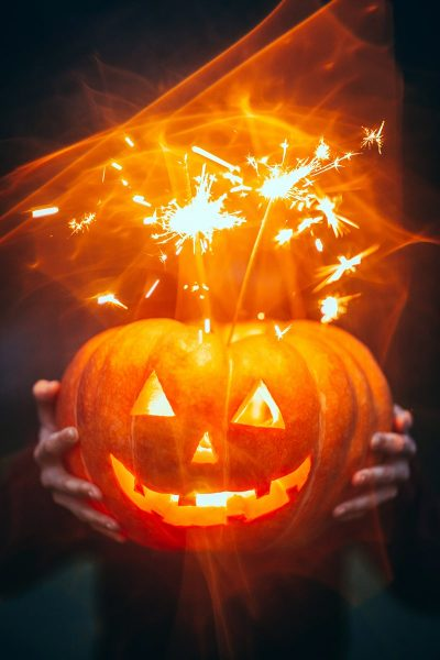 Image of Sparklers in a Pumpkin for Halloween