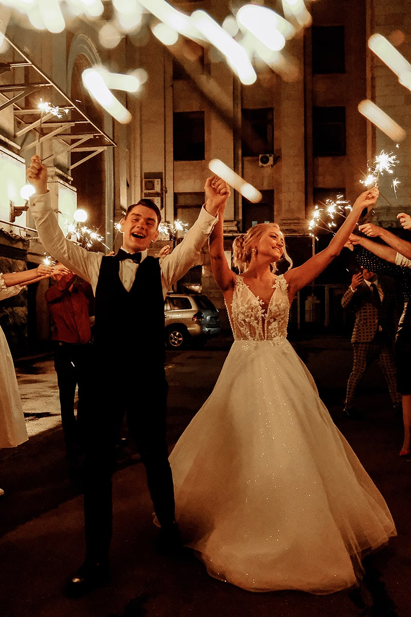 Image of 36 Inch Sparklers Used for a Wedding Sendoff