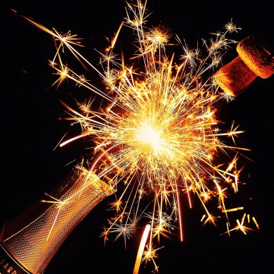 Image of Bottle Sparklers on Champagne for New Year's Eve