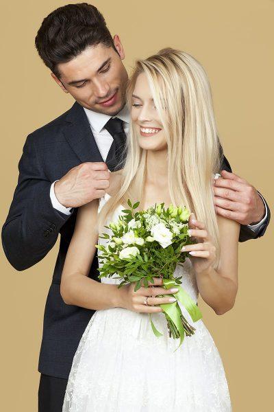Image of a Bride and Groom in Wedding Attire