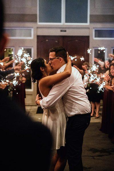 Image of a Wedding Sparkler Exit Promoting Social Distancing
